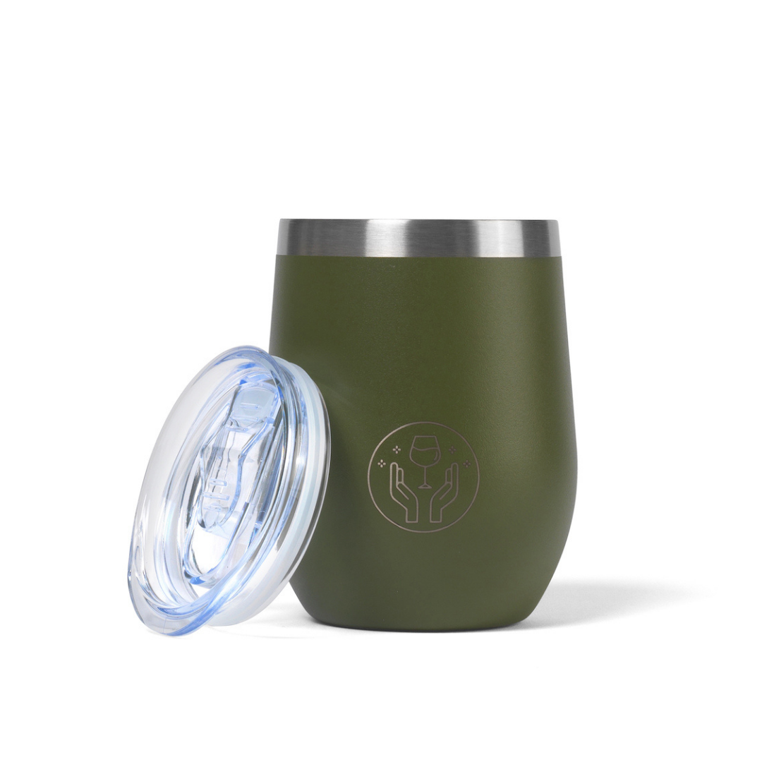 Partner in Wine Insulated Wine Tumbler Khaki with Lid