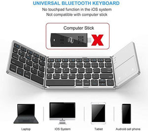 Foldable Bluetooth Keyboard,Dual Mode Bluetooth & USB Wired Rechargable Portable Mini BT Wireless Keyboard with Touchpad Mouse for Android,PC, Tablet