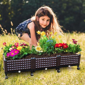 Easily Grow Garden Bed with Self Watering Planter Box and Drainage Plug Anthracite