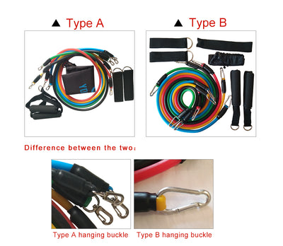 YOUGLE 11pcs/set Pull Rope Fitness Exercises Resistance Bands Latex Tubes Pedal Excerciser Body
