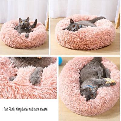 Cat Bed House Round Long Plush Super Soft Pet Dog Bed