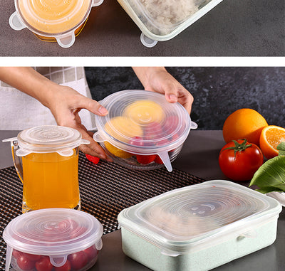 6pcs Silicone Cover Stretch Lids Reusable Airtight Food Wrap Covers