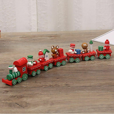 Xmas Christmas Wooden Train Santa Festival Ornament Home Decor Kids Gifts Toys
