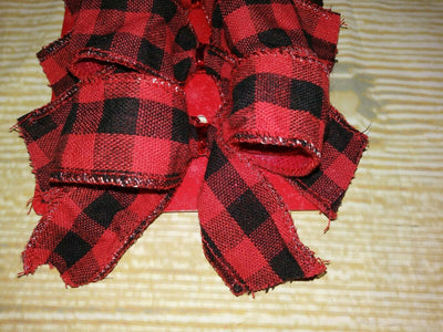 NEW! Set of 6 BOWS Christmas ORNAMENTS Red & Black Buffalo Check Plaid Fabric