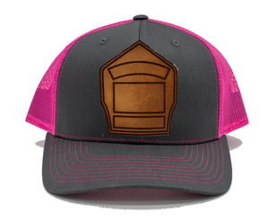 Shield Hat- Charcoal/Pink