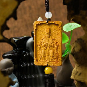 Woodcarving Mazu car pendant