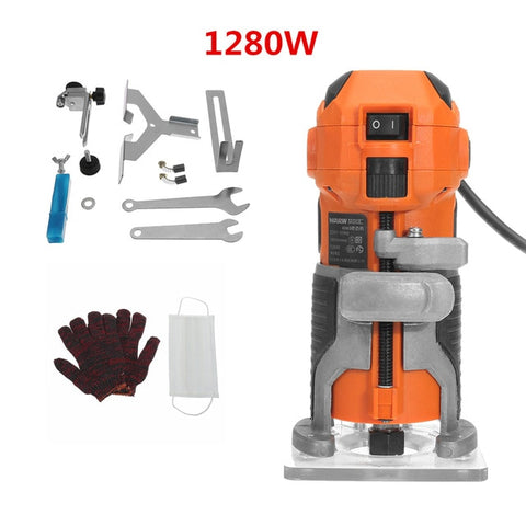 Image of Wood Electric Trimmer Woodworking Wood Milling 1280W 35000r/min Electric Hand Trimmer - Sigma Sound L L C