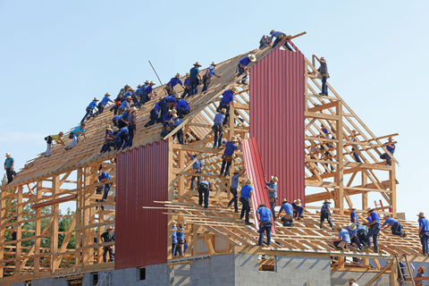 team of people building a house