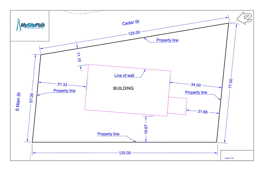 Simple plot plan drawn by our designers and delivered as a for Site plan drawing online