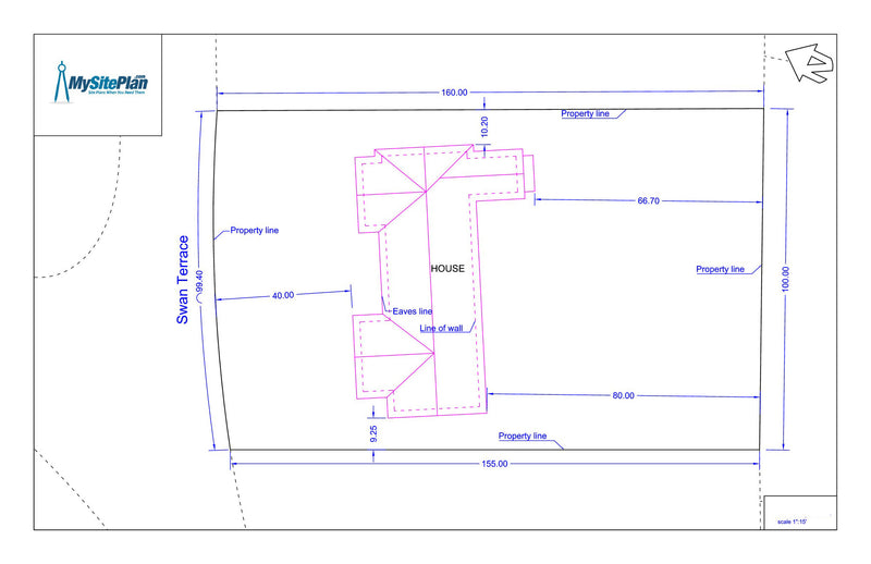 Simple plot plan drawn by our designers and emailed as a for Site plan drawing online