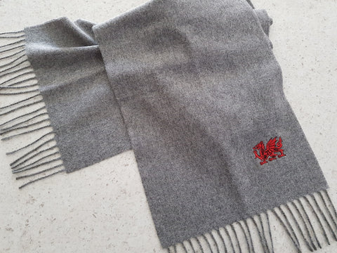 Welsh Dragon Embroidered Scarf Grey
