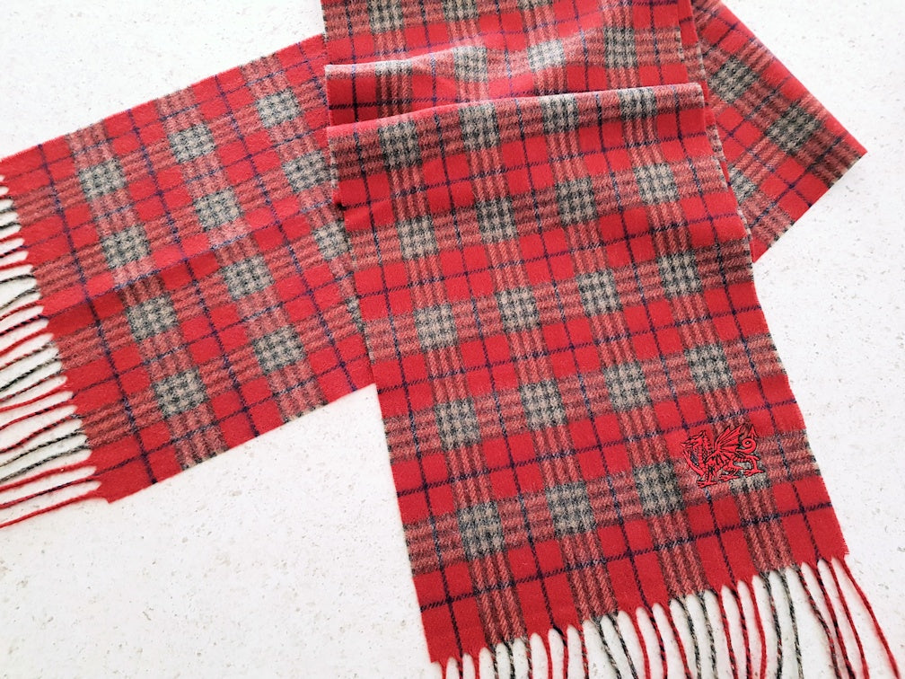 Welsh Dragon Embroidered Scarf Red Tartan
