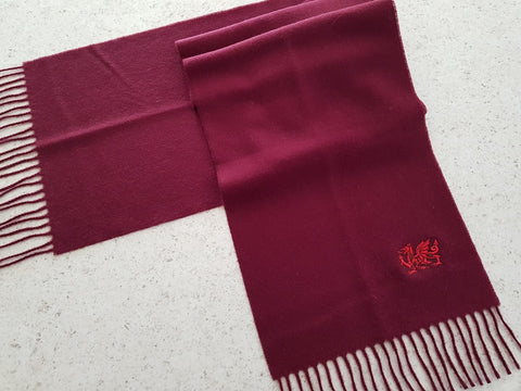 Welsh Dragon Embroidered Scarf Maroon