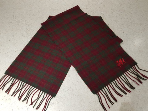 Welsh Dragon Embroidered Scarf Maroon Tartan