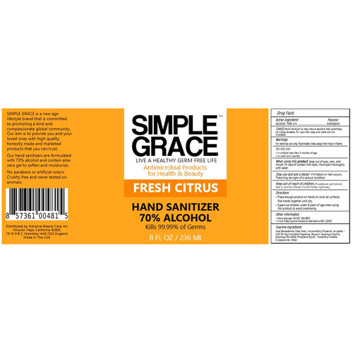 Simple Grace Antimicrobial Hand Sanitizer Fresh Citrus