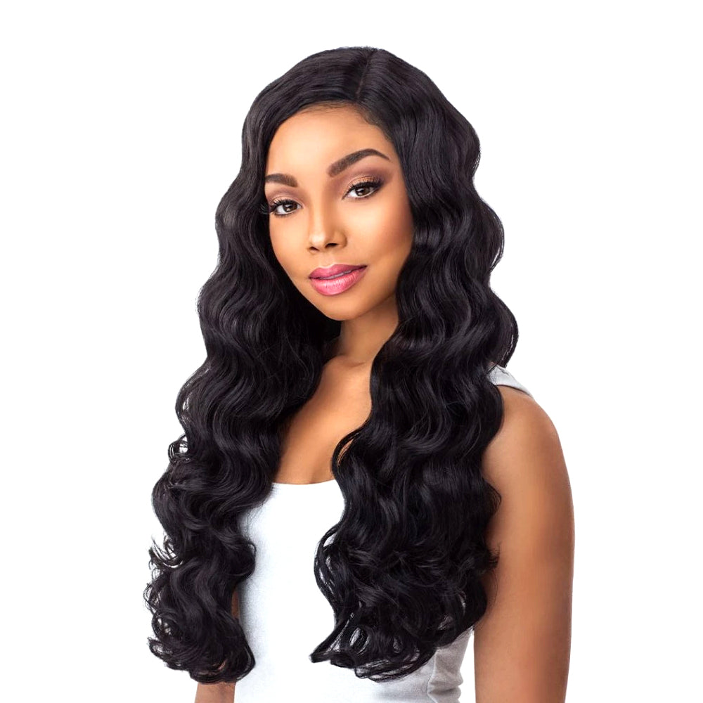 Sensationnel Human Hair Blend Boutique Bundle Body Wave w/4X4 Closure 18