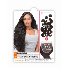 "Sensationnel Bare & Natural 7A Unprocessed Lace Closure Bundle Deal Body Wave 16""18""20"""