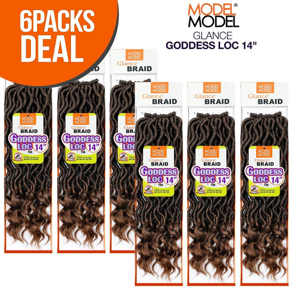 Model Model Glance Synthetic Crochet Braid Gorgeous Goddess Loc 14""