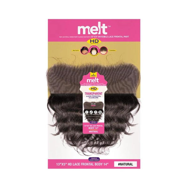 "Janet MELT 100% Natural Virgin Remy Human Hair HD 13""X 5"" Invisible Lace Frontal Closure 14"""