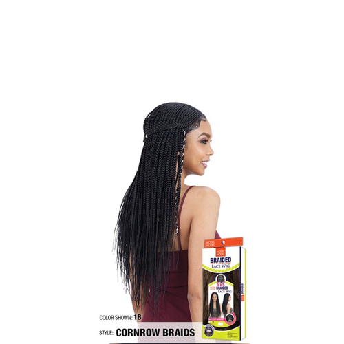 "Model Model Synthetic Braided 5x5"" Lace Wig Cornrow Braids"