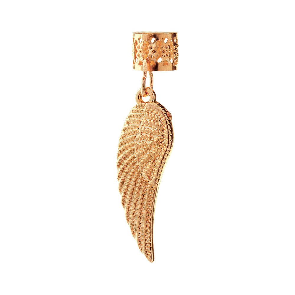 BT Charm Filigree Tubes Hair Jewelry Gold Angel Wing