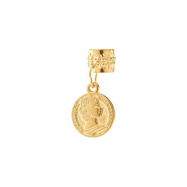 BT Charm Filigree Tubes Hair Jewelry Gold Coin
