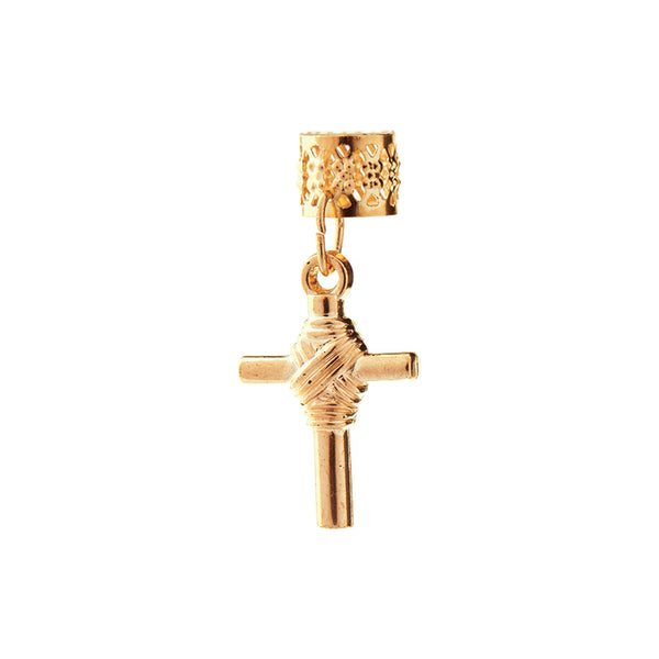BT Charm Filigree Tubes Hair Jewelry Gold Bold Cross
