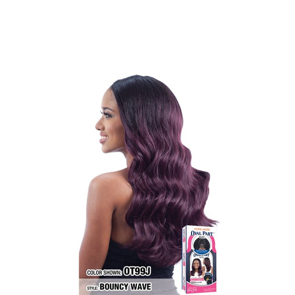 Modle Model Synthetic Oval Part Wig Bouncy Wave