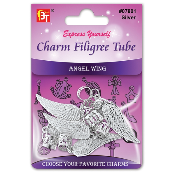 BT Charm Filigree Tubes Hair Jewelry Silver Angel Wing