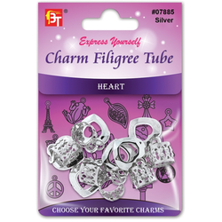 BT Charm Filigree Tubes Hair Jewelry Silver Heart
