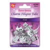 BT Charm Filigree Tubes Hair Jewelry Silver Frog