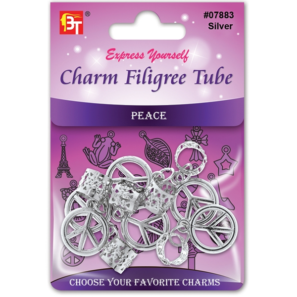 BT Charm Filigree Tubes Hair Jewelry Silver Peace