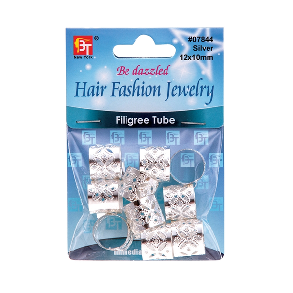 BT Charm Filigree Tubes Hair Jewelry Silver 12 x 10mm