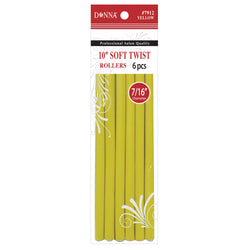 "Donna 10"" Soft Twist Rollers 6pcs - Yellow 7/16"" Diameter"