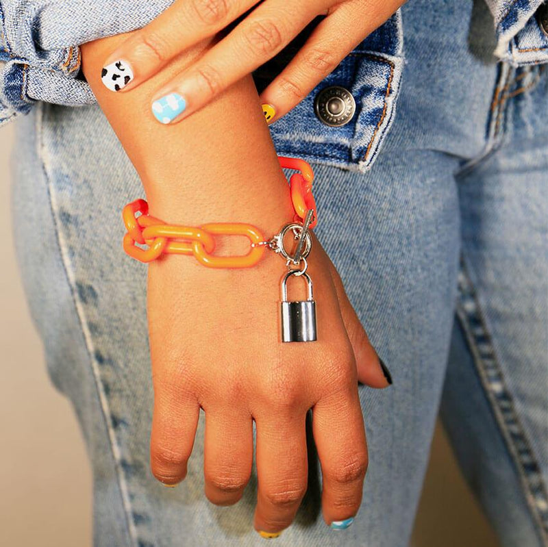 ACRYLIC CHAIN BRACELET ORANGE Bracelet Adorn Lab