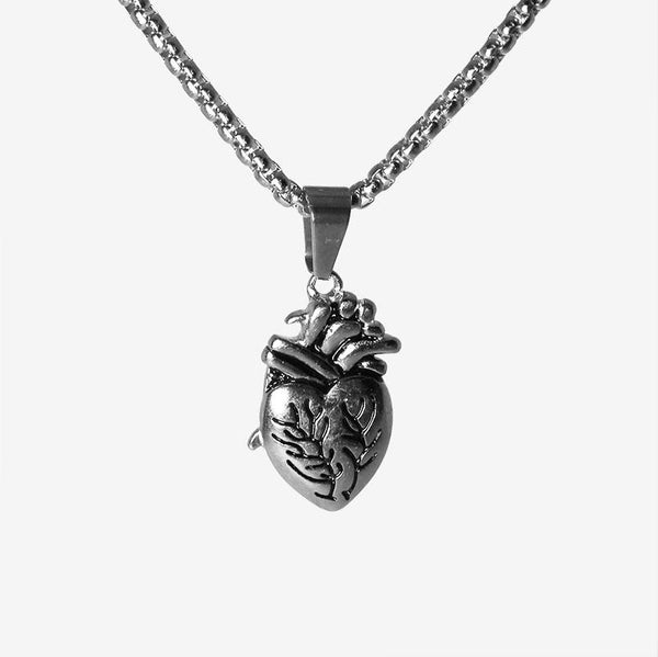 ANATOMICAL HEART NECKLACE SILVER Necklaces Adorn Lab
