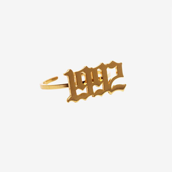 GOTHIC BIRTH YEAR RING GOLD Adorn Lab