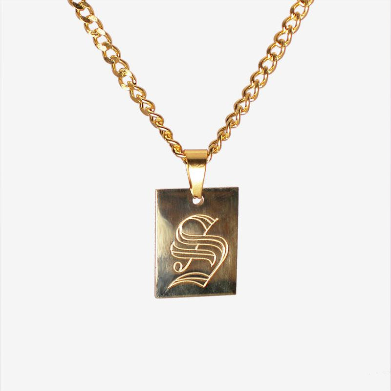 INITIAL TAG NECKLACE GOLD Adorn Lab