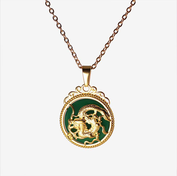 JADE DRAGON NECKLACE GOLD Adorn Lab