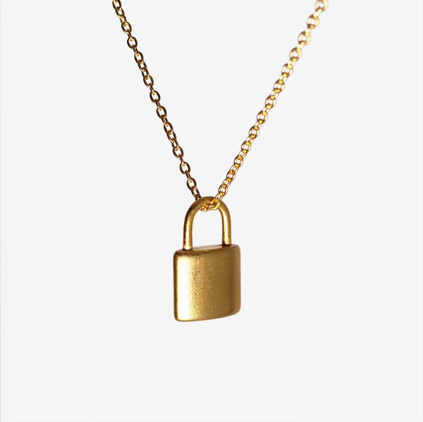 SMALL PADLOCK NECKLACE GOLD Adorn Lab
