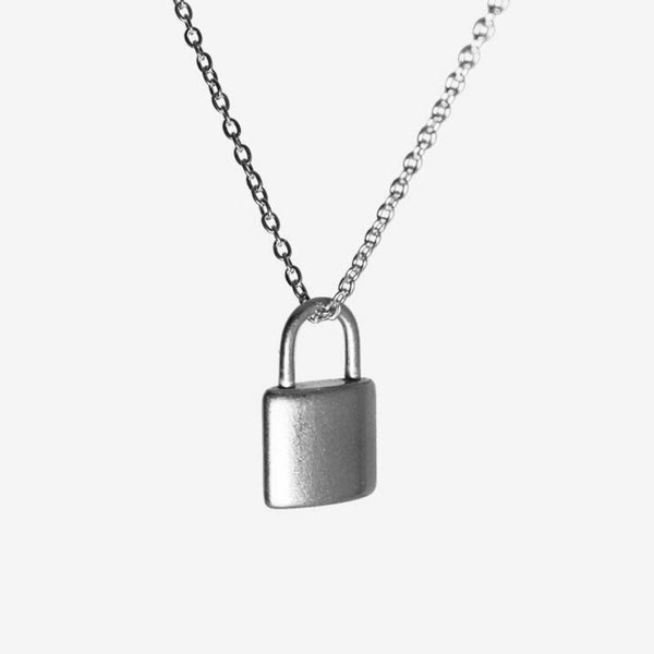 Small Padlock Necklace Silver Adorn Lab