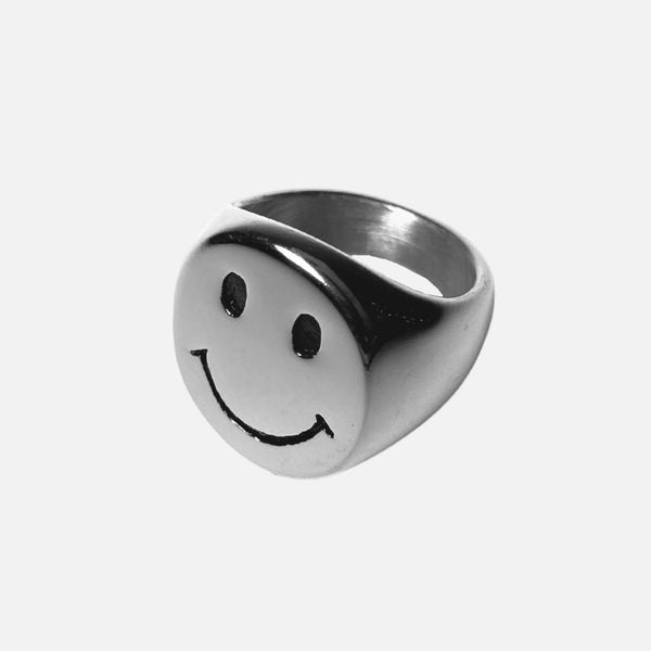 Smiley Face Ring Silver Adorn Lab