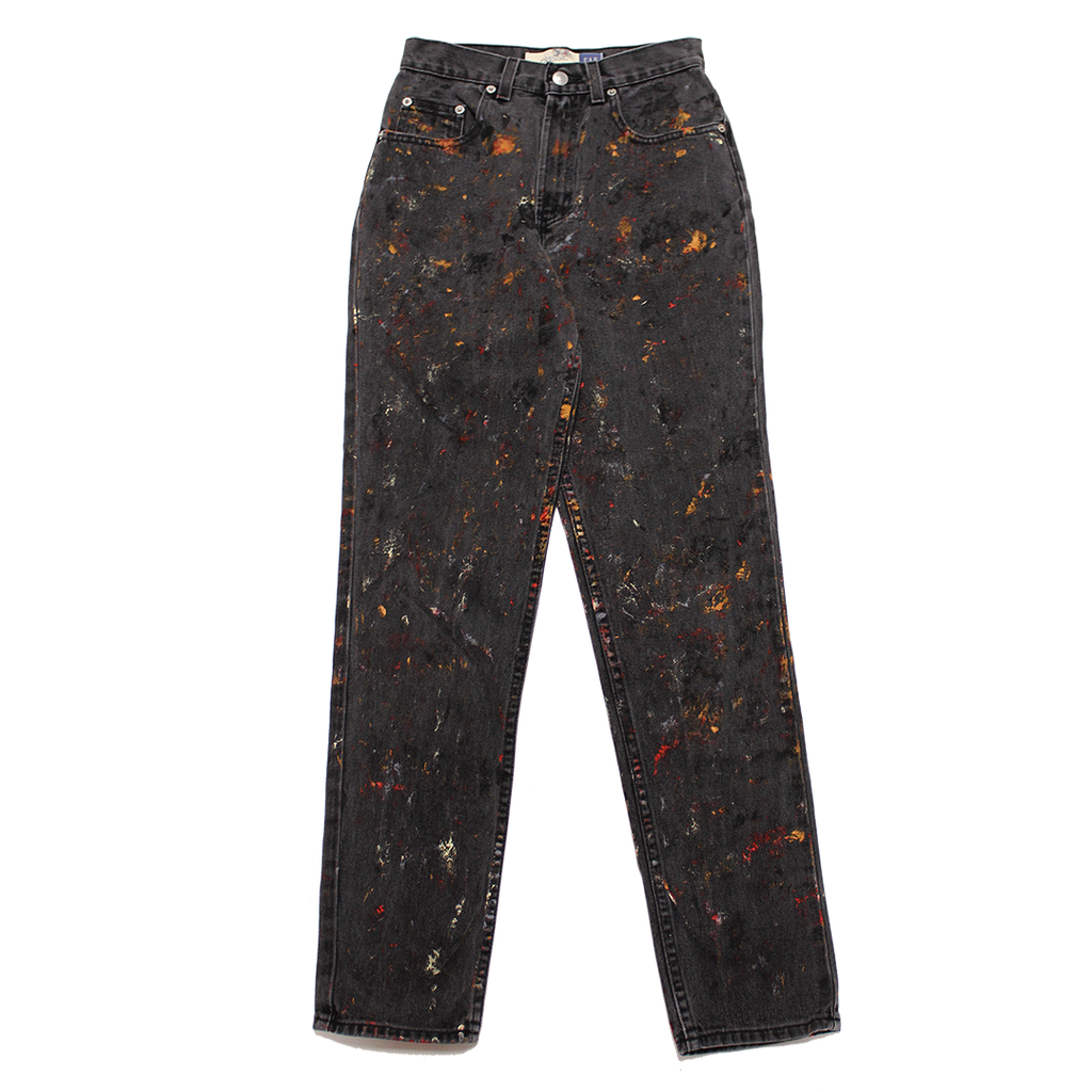 PAINTED FADED BLACK JEANS