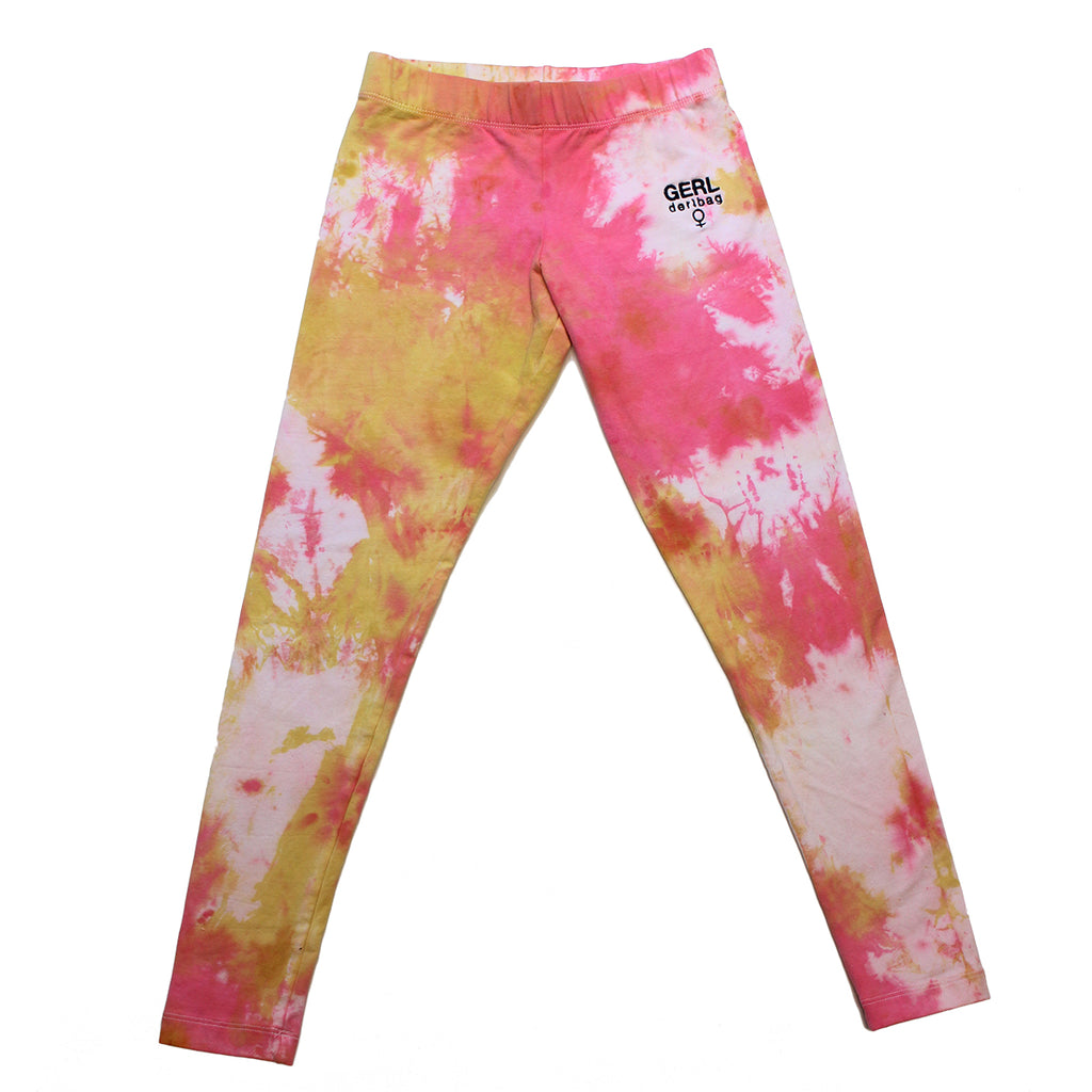 GERL EMBROIDERED TIE DYE LEGGINGS