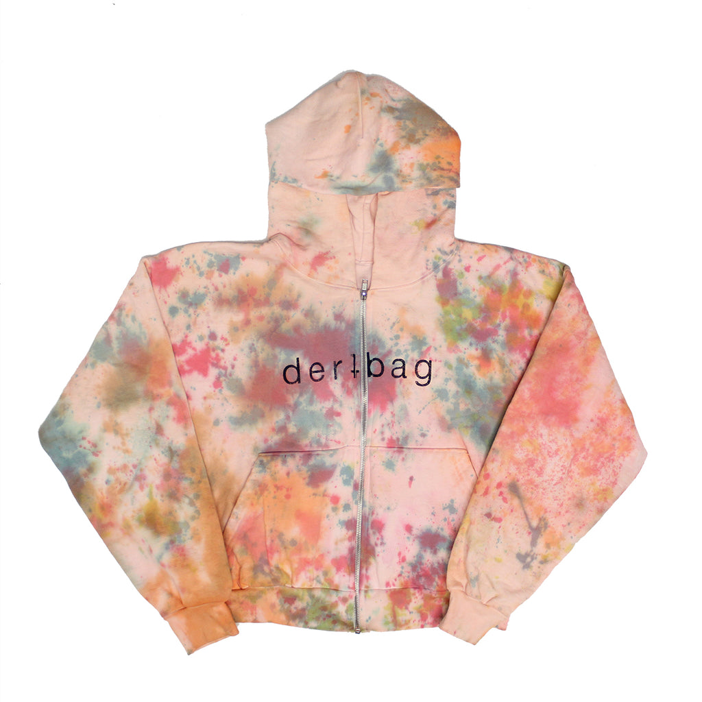 TIE DYE CROPPED DERTBAG ZIP SWEATSHIRT