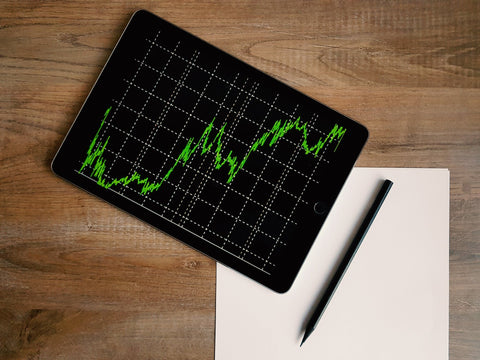 image of iPad with stock graphs