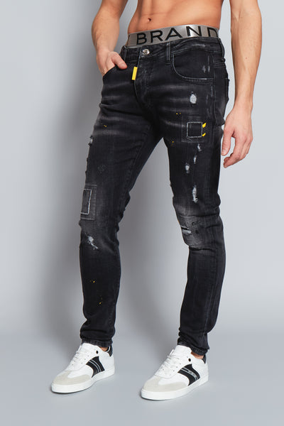 Black Faded Yellow Spot Jeans My Brand