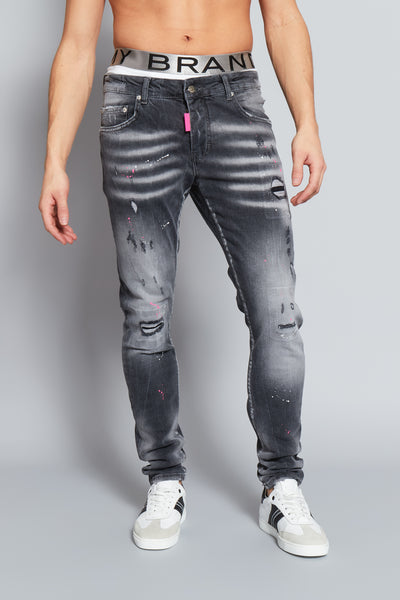Grey Faded Pink Spot Jeans My Brand