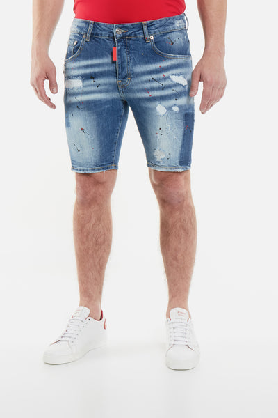 Blue Distressed Dark Faded Short My Brand