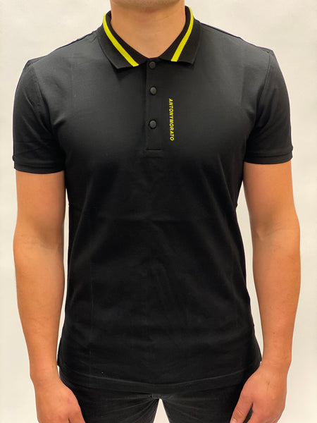Black Pique Polo With Patch Detail